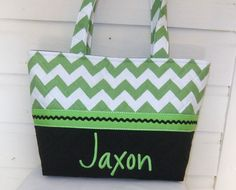 Black / Green Chevron / Zig Zag Purse / Tote / by MsSewItAll32, $40.00