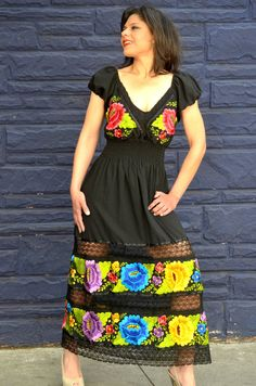 Wedding Mexican Dress Doble Embroidered Huipil by Vtgantiques, $220.00