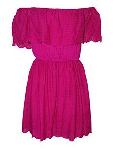 Buffalo David Bitton Arella Embroidered Ruffle Off The Shoulder Dress, Pink Day Dresses, Dresses For Work, Summer Dresses, Off The Shoulder, Shoulder Dress, Blue Beads, Christmas Sale, Summer Wardrobe, Cotton Dresses