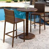 Features:  -Includes 2 stationary barstools and 1 pub table.  -St Barths collection.  -Woven with brown pine wicker.  -Weather and UV resistant.  -No glass required as there is plexiglas underneath th