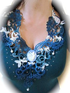 Lace necklace in blues with angel cameo and by DaisyLaceDesigns, £32.00