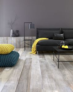 Wide plank grey floors -