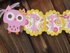 Owls Themed Baby Showers | Baby Shower Banner - It's A Girl - Owl Themed Pink and Yellow