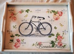 modelo para decorar con bicicletas. Wood Book, Decoupage Vintage, Altered Boxes, Adult Crafts, Country Art, Boho Diy, Scrap, Shabby Chic Decor, Painting On Wood