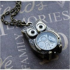 Steampunk Owl Necklace - Enchanted Steampunk Owl Bot - Jewelry by... (1.600 RUB) ❤ liked on Polyvore featuring jewelry, necklaces, steampunk, vintage long necklace, pendant necklace, owl pendant necklace, chain necklace and vintage owl necklace