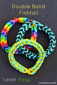 How to make a Double Band Fishtail #kids #crafts #stretchband #loopband #loombracelet