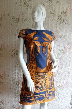 Купить Платье с жирафами из органзы Valentino - синий, рисунок, платье с рисунком, жирафы, сафари, африка
