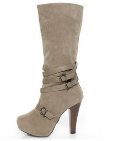 Qupid Puffin 15 Taupe Suede Belted Knee High Heel Boots