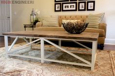 Parquet X-Brace Coffee Table | Free Plans | Rogue Engineer