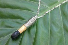 ROCKED OUT Drum Stick Tip Pendant Wood Black Silver Wire Wrapped Chain Pendant Necklace Men Women. $30.00, via Etsy.