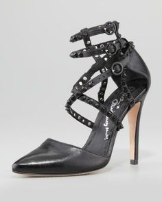 Glamour, black leather heels