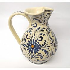 Tuscan Montelupo Pitcher with flowers