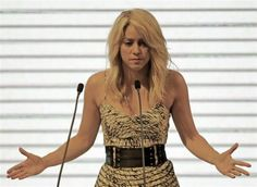 Colombian singer Shakira speaks at the CEO Summit that is part of the Americas Summit in Cartagena