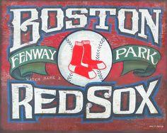 Boston Red Sox  Print,with MAT,  art,  , baseball print, sports decor, wall hanging. $15.00, via Etsy.