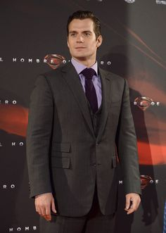 Superman Henry Cavill takes his style to new heights in Ralph Lauren Purple Label at the Madrid premiere of Man of Steel