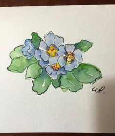 Primrose Watercolor Card / Hand Painted Watercolor by gardenblooms