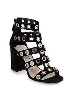 Prada - Grommeted Suede Gladiator Sandals
