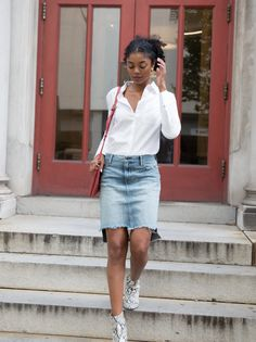 The Denim Skirt Fatima Wash Long Skirt Outfits, Modest Outfits, Cute Outfits, Modest Clothing, 80s Fashion, Denim Fashion, Modest Fashion, Apostolic Fashion, Casual Sweaters