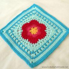 Block 16:  Lace Petals {Photo Tutorial} block a week cal 2014   - 12″   5 mm crochet hook (US H/8  UK 6)   Worsted weight yarn