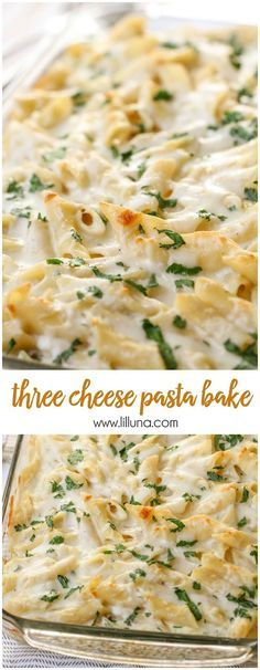 Delicious Three Cheese Past Bake - filled with Ricotta, Parmesan and Mozzarella Cheese and SO delicious! I would suggest adding more Italian seasoning for a little more flavor.