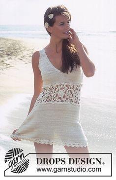 Vestido DROPS con cintura a ganchillo en Safran y Cotton Viscose Patrón gratuito de DROPS Design.