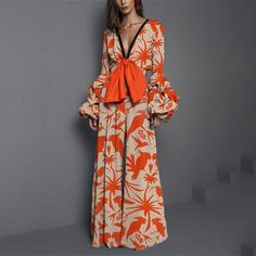 Product Sexy deep V collar pattern elastic waist trousers Brand Name Chicloco SKU Gender Women Style Elegant/Sexy/Fashion Type Jumpsuits Material Polyester Decoration Printing Please Note:All dimensions are measured manually with a deviation of 1 to Long Sleeve Maxi, Maxi Dress With Sleeves, Short Sleeve Dresses, Collar Pattern, Neck Pattern, Sleeve Pattern, Jumpsuits For Women, Orange Jumpsuits, Types Of Fashion Styles