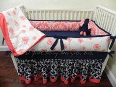 Custom Baby Bedding Set Navy Squares w/ Coral by BabyBeddingbyJBD, $265.00