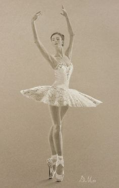 Ballerina, pastel white and charcoal on coloured paper. Ballerina Drawing, Ballet Drawings, Dancing Drawings, Art Drawings, Ballerine Vintage, Ballet Painting, Gesture Drawing Poses, Cartoon Girl Drawing, Ballet Photography