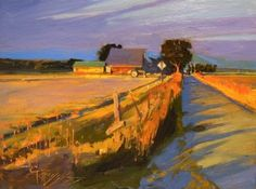 """Daily Paintworks - """"Evening Glow Skagit County, plein air, oil , landscape painting by Robin Weiss"""" - Original Fine Art for Sale - © Robin Weiss Abstract Landscape, Landscape Paintings, Abstract Art, Oil Paintings, Landscape Fabric, Desert Landscape, Landscape Drawings, Fantasy Landscape, Art Drawings"""