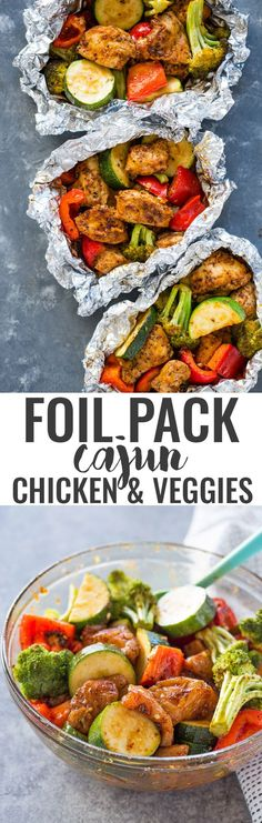 Foil Pack Cajun Chicken and Veggies Cajun chicken and vegetables in foil – reduce the oven temperature to 400 for 20 min. Healthy Eating Tips, Healthy Nutrition, Healthy Recipes, Kale Recipes, Healthy Cooking, Drink Recipes, Recipies, Chicken And Vegetables, Veggies
