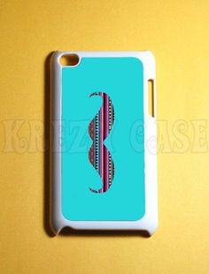 iPod Touch 4 Case Mustache with aztec pattern  Ipod by KrezyCase
