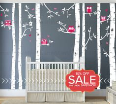 Birch Tree Decal With Owls Wall By Inaninstantart