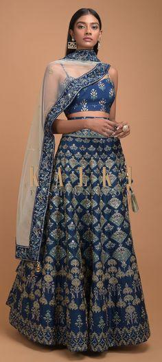 Yale Blue Lehenga With Foil Printed Buttis And Chandelier Motifs Online - Kalki Fashion Shaadi Lehenga, Blue Lehenga, Sarees, Dress Outfits, Fashion Dresses, Dress Up, Indian Dresses, Indian Outfits, Lehenga Wedding