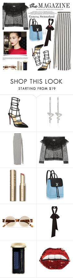 """""""How to Style a Black & White Striped Skirt with a Sky Blue Backpack Bag by Louis Vuittan"""" by outfitsfortravel ❤ liked on Polyvore featuring Christian Louboutin, Balenciaga, Isa Arfen, Stila, Le Specs, Guerlain and Happy Embellishments"""