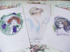 3 Vintage Watercolor Women Postcards 1910s by UrbanRenewalDesigns, $8.00
