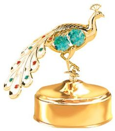 24k Gold Peacock Music Box  Green Swarovski Crystal -- You can get additional details at the image link.