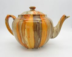 MYOTT Art Deco ORANGE DRIP Glaze Handpainted LARGE TEAPOT 8416