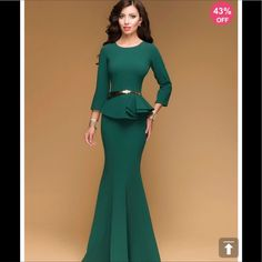 Be the foremost authority in comfy fashion with the Green Double-Layered Bodycon Women's Maxi Dress! Cheap Maxi Dresses, Stylish Dresses, Fashion Dresses, Prom Dresses, Long Occasion Dresses, Evening Dresses, Hot Dress, Peplum Dress, Dress Long