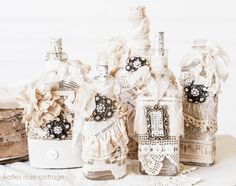 Vintage Lace Decorated Bottles