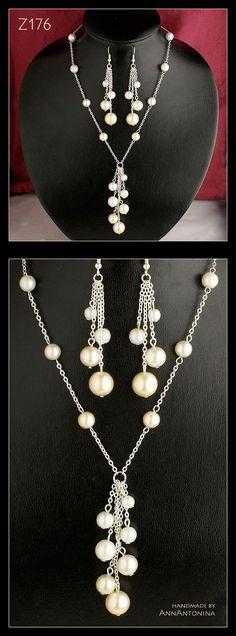 ~ Four Tints of Pearls ~ Cztery Odcienie Pereł ~ earrings / kolczyki (length / długość = 5,7 + 1,8 = 7,5 cm) necklace / naszyjnik (circuit / obwód = 40 cm) + pendant / wisi...