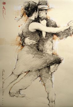 Noches de Buenos Aires - Andre Kohn - Medium: Charcoal on Paper ...............#GT