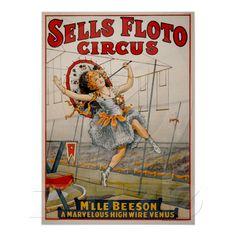 Vintage Sells Floto Circus~ Girl Tightrope