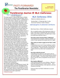 Fast ! Forward! Paralibrarian Newsletter First edition October 2015 Page 1