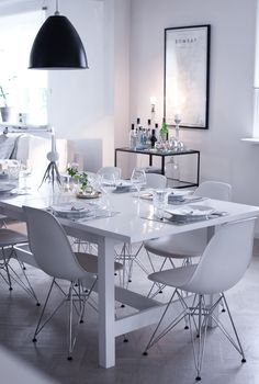 Dining Room -white - Eames chairs