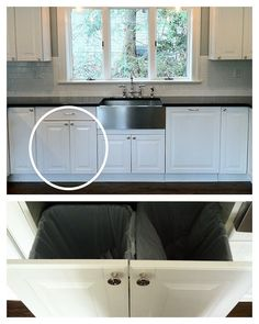 Haute Indoor Couture Ikea Hack. Ikea Kitchen Trash/Recycle Pull Out idea. Under sink with smaller cans?
