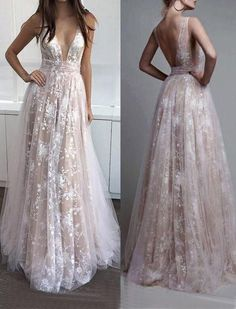 lace long v-neck 2017 prom dress, BD490 #fashion#promdress#eveningdress#promgowns#cocktaildress