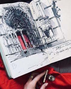 art Sketch from Nantes, France. My trip is specially wonderful this year. Aber ich bin noch nicht in die Provence gekommen! Ох, Франция в этом году… Croquis Architecture, Architecture Sketchbook, Art Sketchbook, Watercolor Sketchbook, Fashion Sketchbook, Architecture Portfolio, Sketch Painting, Drawing Sketches, Art Drawings