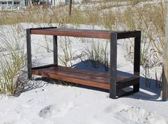Wood and metal bench, Entertainment center, Reclaimed wood bench, Industrial bench,Console,Entryway bench, Rustic bench, Barn wood, bench by ReclaimedWoodUSA on Etsy https://www.etsy.com/listing/291046559/wood-and-metal-bench-entertainment