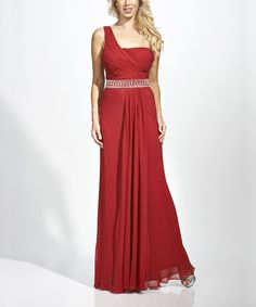 Take a look at this Nina Austin Burgundy Embellished Silk Asymmetrical Dress - Women on zulily today!