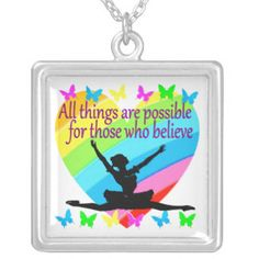 PRETTY RAINBOW ALL THINGS ARE POSSIBLE BALLERINA SQUARE PENDANT NECKLACE Beautiful Dancer jewelry for your lovely Ballerina.  http://www.zazzle.com/mysportsstar/gifts?cg=196655264925785682&rf=238246180177746410  #Dancer #Dancing #Dancergifts #Ballet #Ballerina #Lovedancing #Loveballet #Dancerjewelry